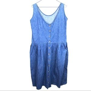 Vintage Cottagecore Sleeveless Denim Jean Dress